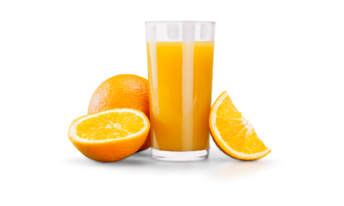 glass of orange juice with sliced oranges
